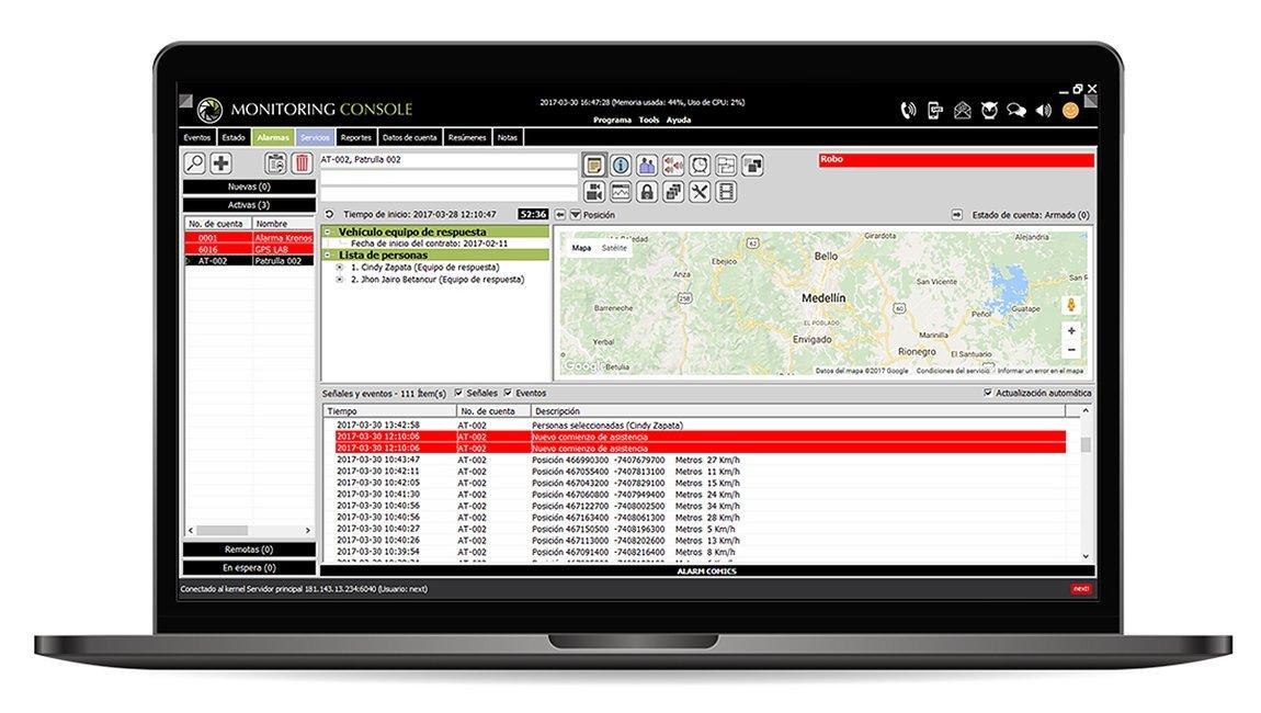 Atención de alarmas y monitoreo GPS con Kronos NET